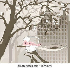 Vector Image foggy city and going girl in the hat