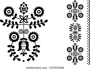 Vector image of folk embroidery from Povazska Bystrica area (Slovakia)
