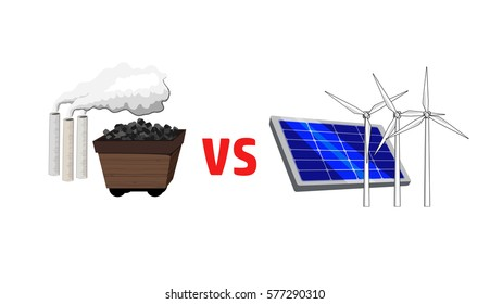 Vector image of fossil fuels versus alternative energy