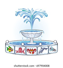 Vector image of a fountain, decorated with funny drawings of marine life