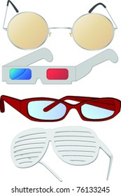 Vector image of four pairs of different style spectacles