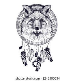 Vector image of fox and dream catcher. Tattoo art. T-shirt design
