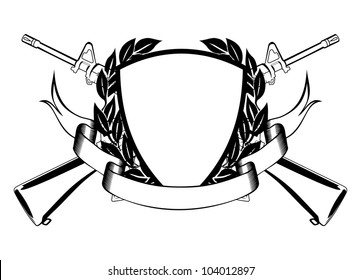 The vector image of the framework, crossed submachine gun, wreath and banner