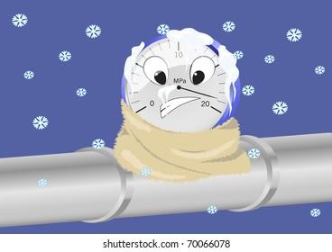 Vector image of frozen manometer