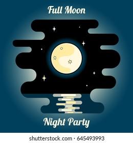 vector image of a full moon, a moon track and stars over the night sea with the words 'Full Moon', 'Night party'. flat style