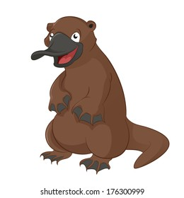 Vector image of funny cartoon animal platypus