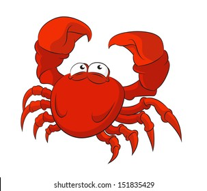 Vector image of funny cartoon red crab