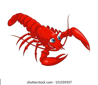 Vector image of funny cartoon smiling lobster