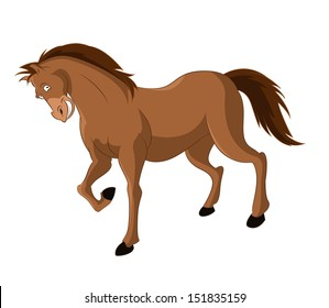 Vector image of funny cartoon smiling horse