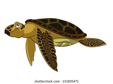 Vector image of funny cartoon smiling sea turtle