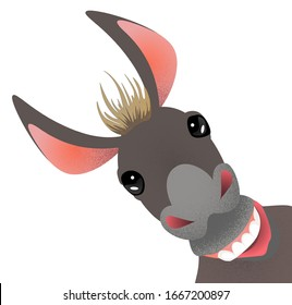 Vector image of a funny donkey in a playful mood located on a diagonal canvas. EPS