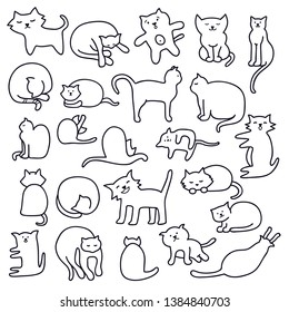 Vector image funny hand drawn cats and kittens. Animals vector illustration with adorable cute cartoon, vector icons