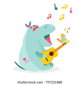 Vector image of a funny singing hippo playing the guitar and a small bird sitting on it. Children illustration
