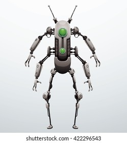 Vector image of funny thin white robot with four arms and  two legs, with a green lens in the center of the body standing on a light gray background. Future, technology, modern. Vector humanoid robot.