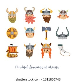 Vector image. Funny Viking stickers. Children's image to decorate. White background.