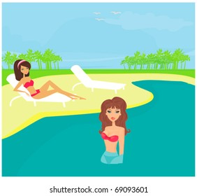 vector image of girls and tropical pool