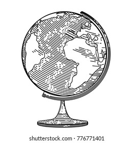 Vector image of the globe in the style of engraving.