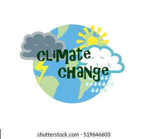 Vector image of the globe with weather symbols and climate change wording