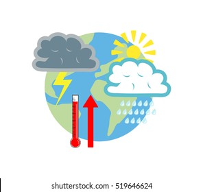 Vector image of the globe with weather symbols and a thermometer with an upwards arrow
