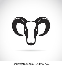 Vector image of an goat head on white background