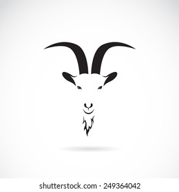Vector image of goat head on white background, Vector goat for your design.