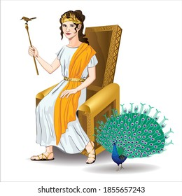 Vector image of the Goddess Hera sitting on a throne with a staff with a cuckoo and a peacock walking nearby