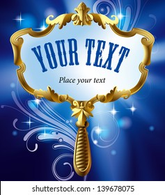 Vector image of gold Magic mirror on the luminous blue starry background with decorative elements