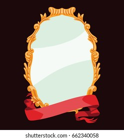 Vector image of a gold vintage frame with a red banner from below on a dark background. Mirror, antique frame, royal. Vector illustration.
