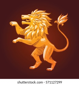 Vector image of a golden heraldic lion with a big mane standing on its hind legs and turn left on a dark background. Coat of arms, heraldry, emblem, symbol. Vector illustration.