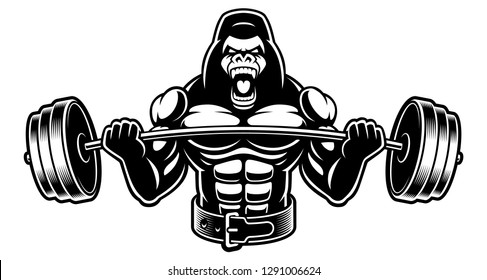 Vector image of a gorilla with barbell. Illustration for the fitness theme. Isolated on the white background.