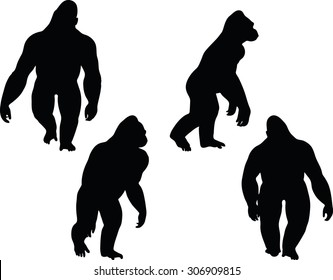 Vector Image Vector Image - gorilla silhouette, isolated on white background - gorilla silhouette, isolated on white background