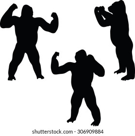 Vector Image - gorilla silhouette, isolated on white background - gorilla silhouette, isolated on white background