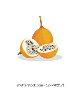 Vector image of granadilla. Whole granadilla and its fruit in a cut on a white background.