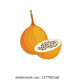 Vector image of granadilla. Whole granadilla and half on the background. Vector illustration for printing products.