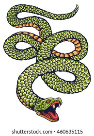 vector image of green snake for tattoo design