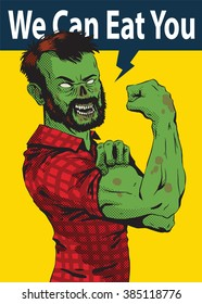 """Vector image of Halloween poster with a cartoon image of a green zombie man with brown hair in a red plaid shirt on a yellow background. The slogan """"We can eat you"""". Halloween. Vector illustration."""