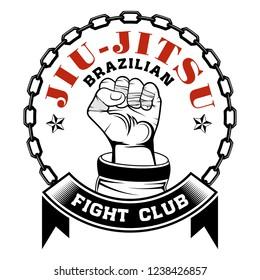 Vector image of a hand of the fighter of the Brazilian jiu-jitsu. Inscription - Brazilian Jiu-Jitsu. Warrior's fist. Illustrations for t shirt print. Cool grunge print.  Vector color illustration.
