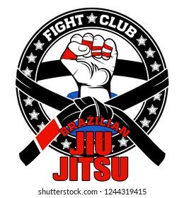 Vector image of a hand of the fighter of the Brazilian jiu-jitsu. Inscription - Brazilian Jiu-Jitsu. Fight club. Warrior's fist. Illustrations for t shirt print. Cool grunge print. Vector color.
