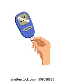 Vector image of a hand and glucose monitor