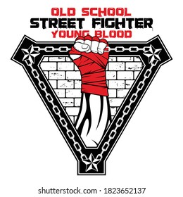 Vector image of a hand of a street fighter. Urban warrior. New Gladiator. Combat champion. Boxer of the old school. Illustrations for t shirt print. Set of hand drawn sport logos, badges, labels.