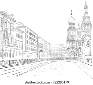 Vector image of hand-drawn black-and-white drawing of the waterfront buildings in the historic center of St. Petersburg. Walk around famous church of the Savior on Spilled Blood in Russia.