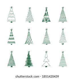 Vector image of hand-drawn Christmas trees.