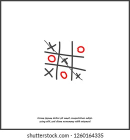 Vector image of a hand-drawn game of crosses and tic-tac-toe on white isolated background. Layers grouped for easy editing illustration. For your design.