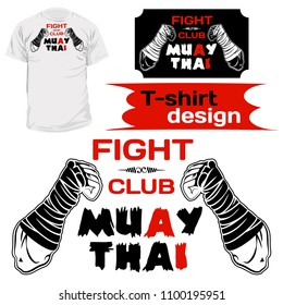 Vector image of hands of the Thai boxer. An inscription: Thai boxing and fight club. Illustrations for t-shirt print, textiles, prints, other uses. Cool grunge print. Vector illustration.