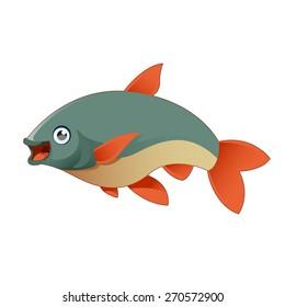 Vector image of a happy cartoon fish