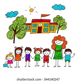 Vector image of happy children with teacher. Kids drawing