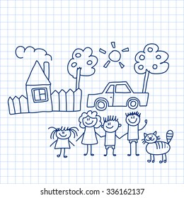 Vector image of happy family with house and car
