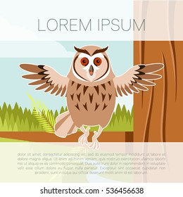 Vector image of the Happy Owl on the Tree flat background