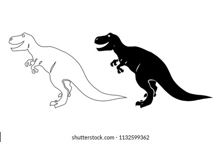 Vector image of a happy smiling tyrannosaur isolated on white background.