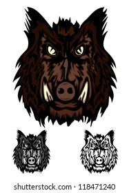 Vector image head aggressive wild boar